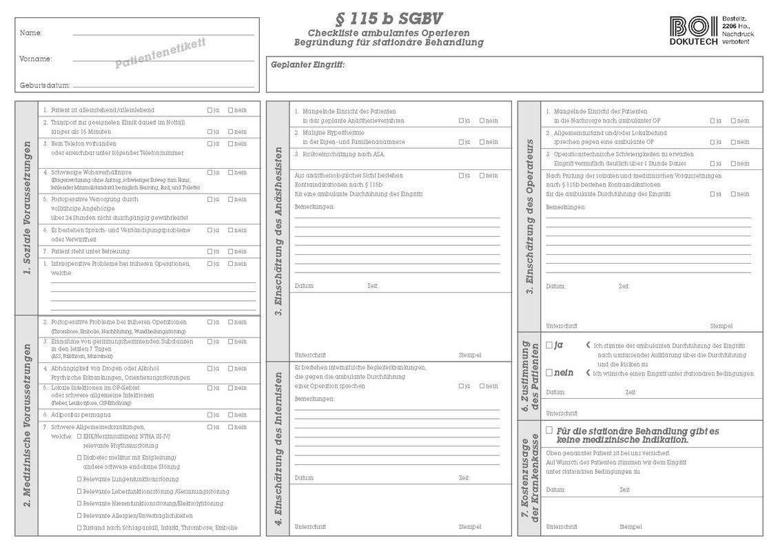 Checkliste ambulantes Operieren §20 SGB V   BOI Dokutech